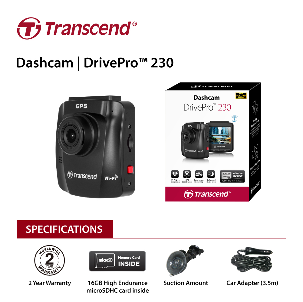 """Transcend 32G DrivePro 230, 2.4"""" LCD,with Suction Mount  TS-DP230M-32G"""